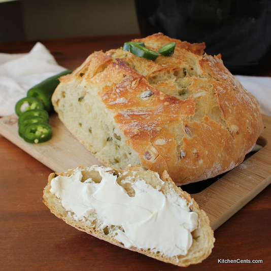 Easy Crusty No-Knead Jalapeno Dutch Oven Artisan Bread | Kitchen Cents