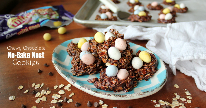 Easy Chewy Chocolate Easter No-Bake Nest Cookies with Cadbury Mini Eggs | Kitchen Cents