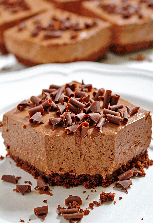 No-Bake Chocolate Cheesecake Bars | 17+ No-Bake Cheesecake Recipes
