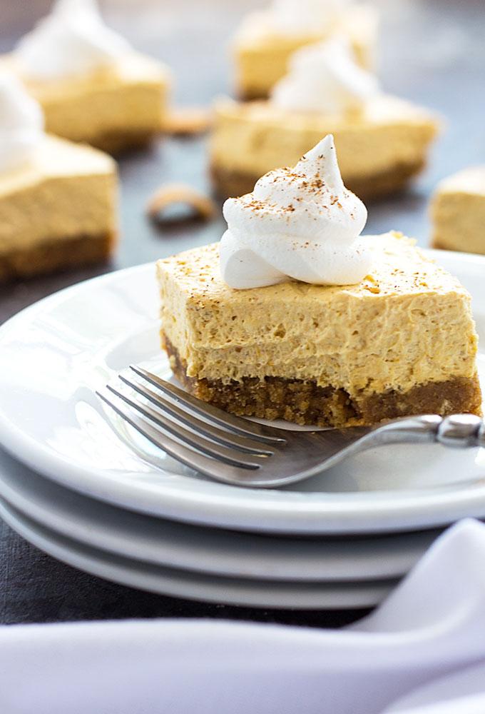 No-Bake Pumpkin Cheesecake Bars | 17+ No-Bake Cheesecake Recipes