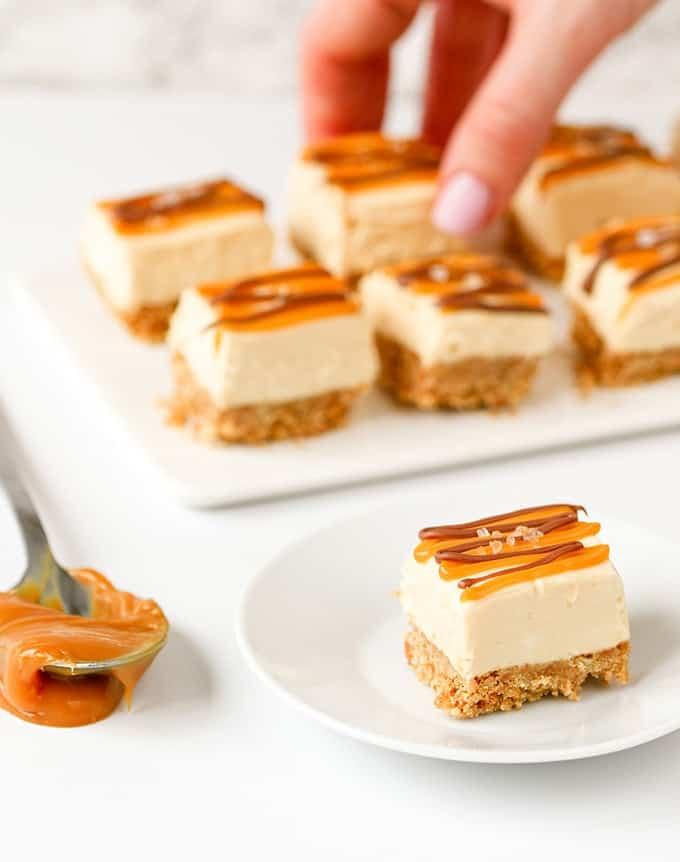 No-Bake Salted Caramel Cheesecake Bites | 17+ No-Bake Cheesecake Recipes