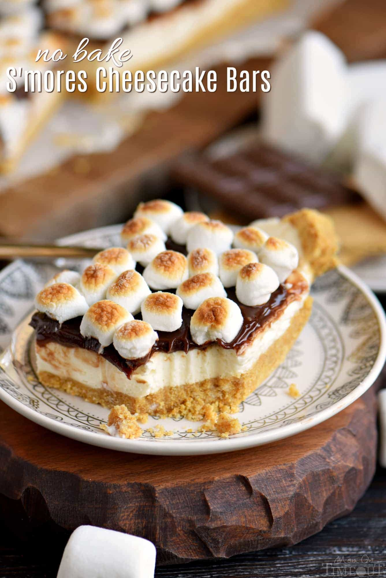 No-Bake Smores Cheesecake Bars | 17+ No-Bake Cheesecake Recipes