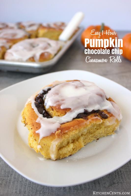 1-hour-pumpkin-chocolate-chip-cinnamon-rolls | 21+ Pumpkin Desserts