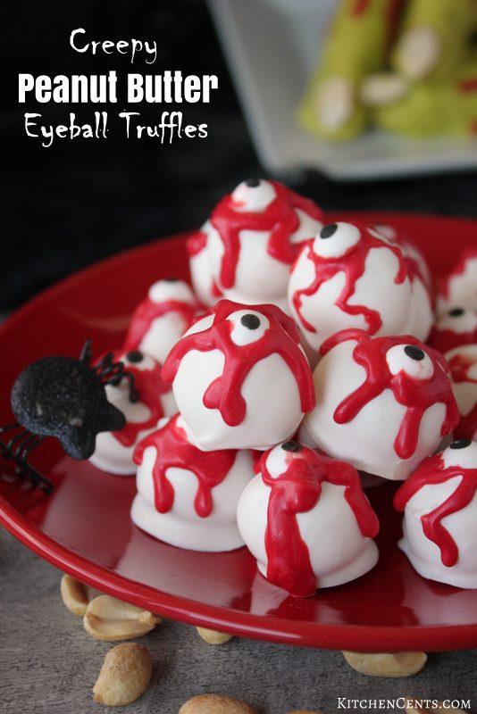 Creepy Peanut Butter Eyeball Truffles | 25+ Halloween Treats Kids will Love