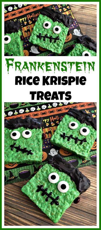 Frankenstein Rice Krispie Treats | 25+ Halloween Treats Kids will Love