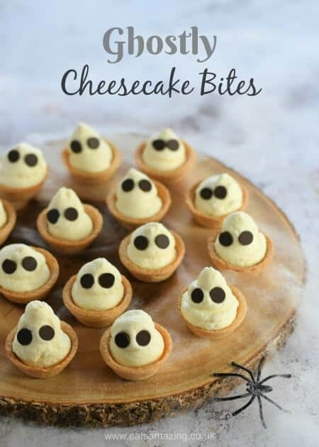Ghostly Cheesecake Bites | 25+ Halloween Treats Kids will Love
