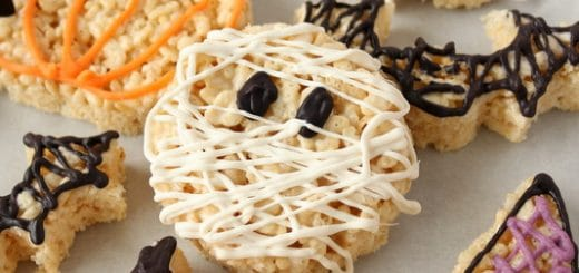 Quick and Easy Halloween Rice Krispie Treats with chocolate | Kitchen Cents