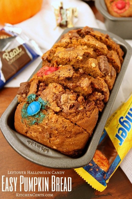 Leftover Halloween Candy EASY Pumpkin Bread | Kitchen Cents