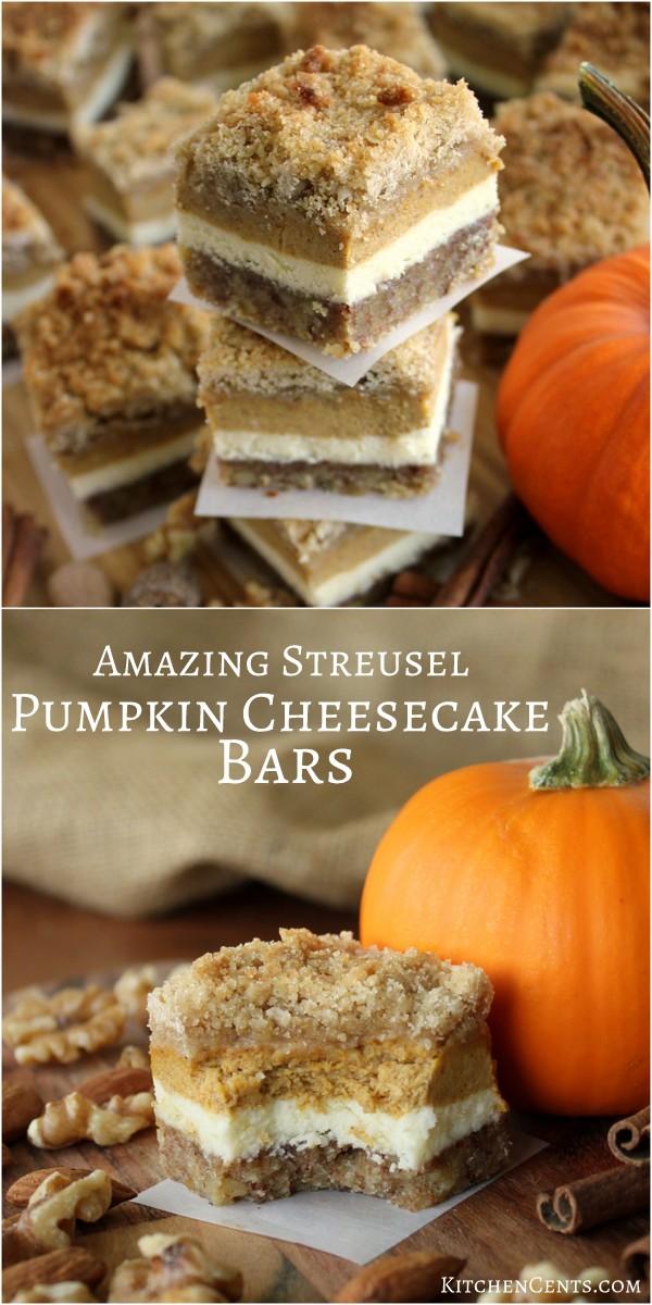 Amazing Pumpkin Cheesecake Bars with Almond Walnut Crust | Kitchen Cents
