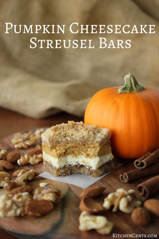 Pumpkin Cheesecake Bars - nutty crust, streusel topped ...