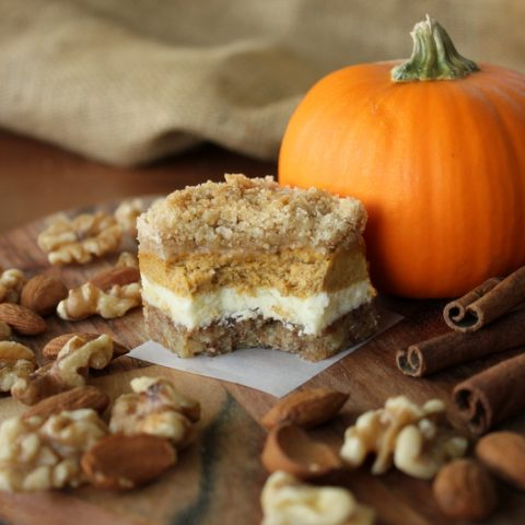 Pumpkin Cheesecake Bars with Walnut Crust and Streusel Topping
