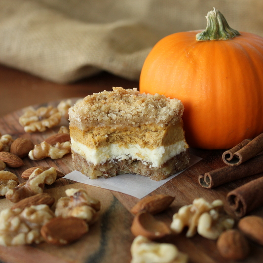 Amazing Pumpkin Cheesecake Bars with Almond Walnut Crust | Kitchen Cents