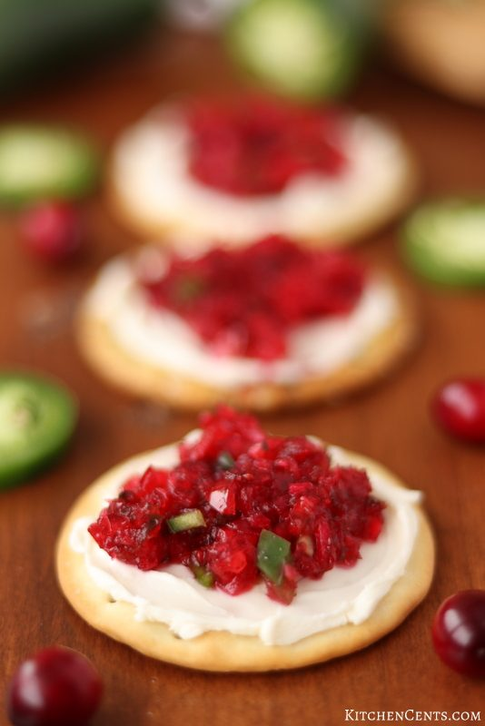 Easy Cranberry Jalapeno Relish with Cream Cheese Appetizer | Kitchen Cents