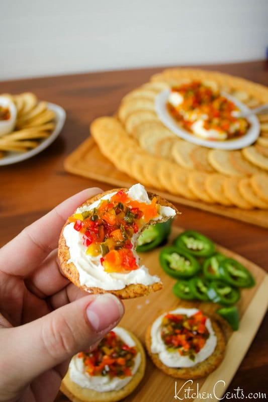 Easy Pepper Relish cheese spread with crackers appetizer | Kitchen Cents