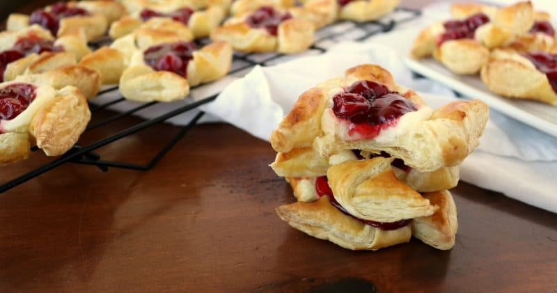 Easy, Sweet Puff Pastry Cherry Cheesecake Pinwheels | Kitchen Cents
