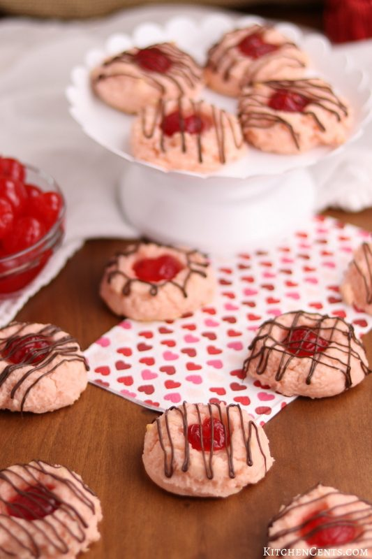 Tender Cherry Heart Cream Cheese Cookies | Kitchen Cents