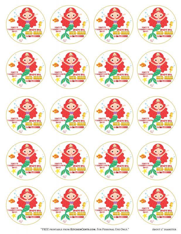 2 inch Mermaid Valentine FREE Printable | Kitchen Cents