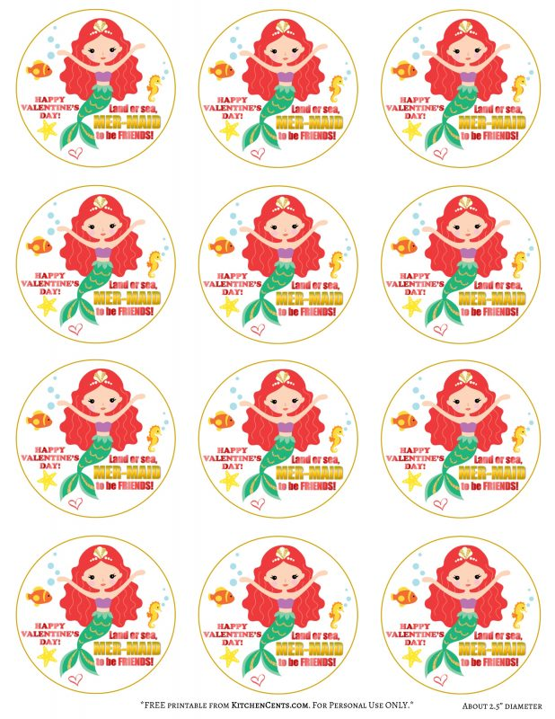 2.5 inch Mermaid Valentine FREE Printable | Kitchen Cents