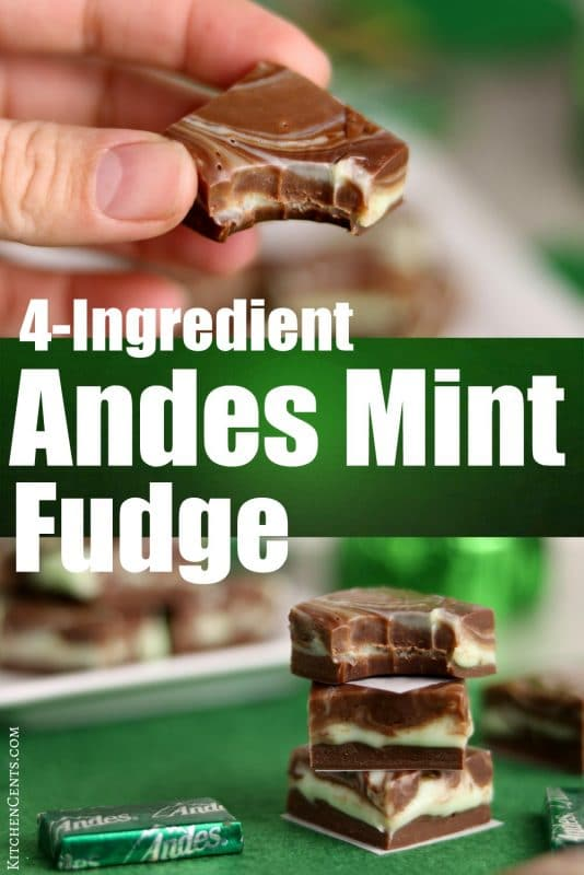 Easy 4-Ingredient Andes Mint Fudge | Kitchen Cents