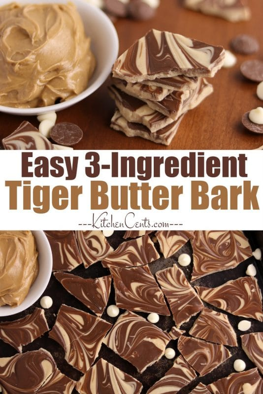 Easy Peanut Butter and Chocolate Tiger Butter Bark | Kitchen Cents