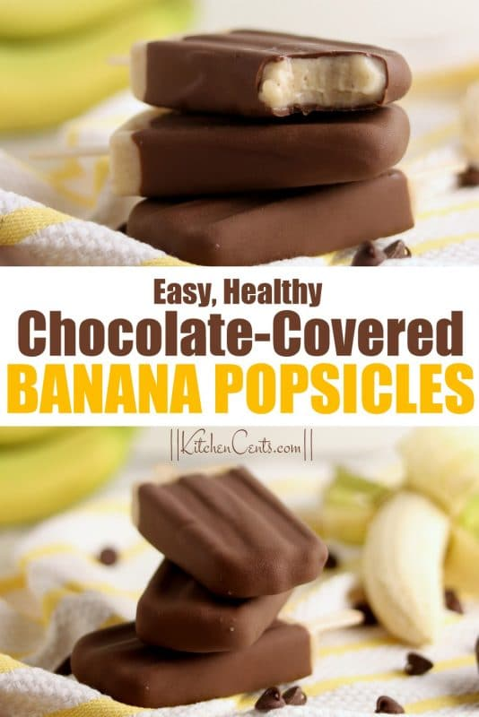 Healthy Chocolate Covered Frozen Banana Popsicles | Kitchen Cents