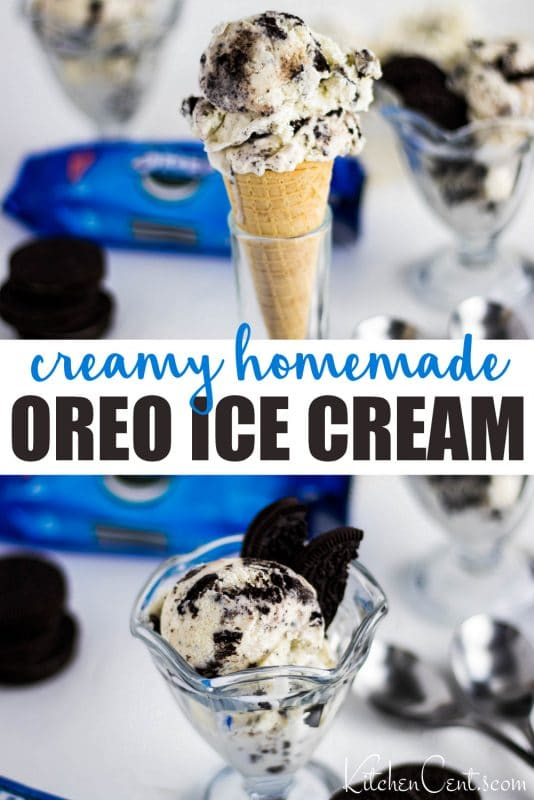 Creamy Homemade Oreo Ice Cream Recipe Pin | Kitchen Cents