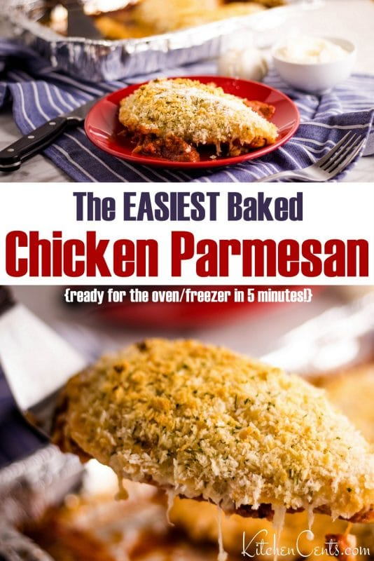 Easy Freezer Friendly Baked Chicken Parmesan recipe | Kitchen Cents