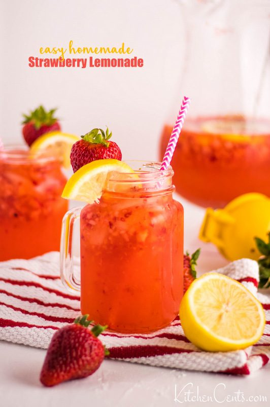 Easy Homemade Strawberry Lemonade Recipe with 4 ingredients | Kitchen Cents