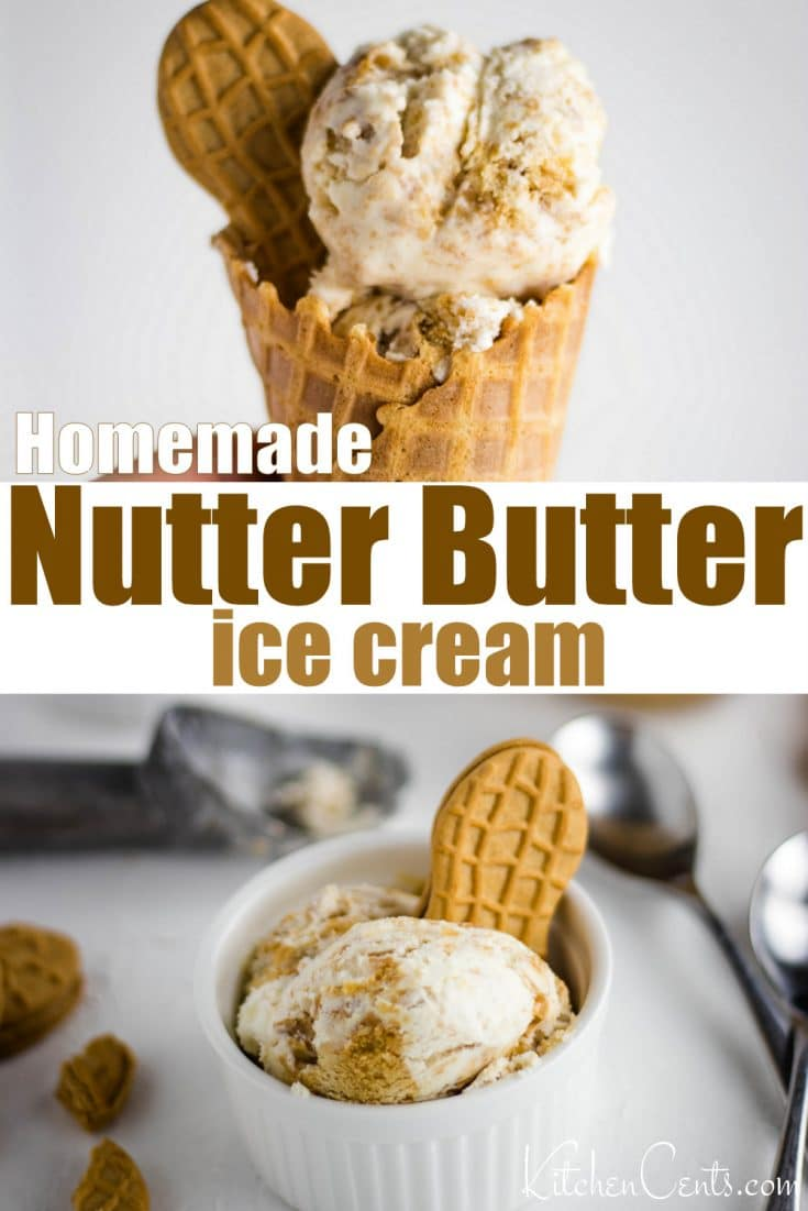 The best homemade ice cream loaded with Nutter Butter cookies and swirls of real peanut butter. A must-try homemade ice cream recipe perfect for summer!