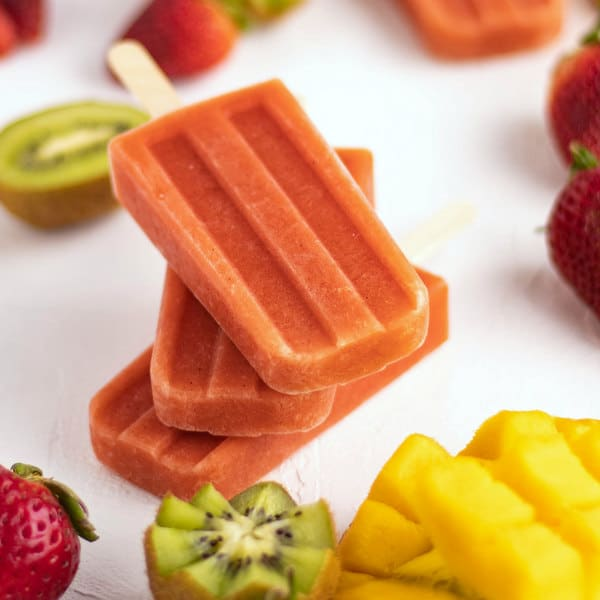 Easy Kiwi Strawberry Mango Smoothie Homemade Popsicles Recipe | Kitchen Cents
