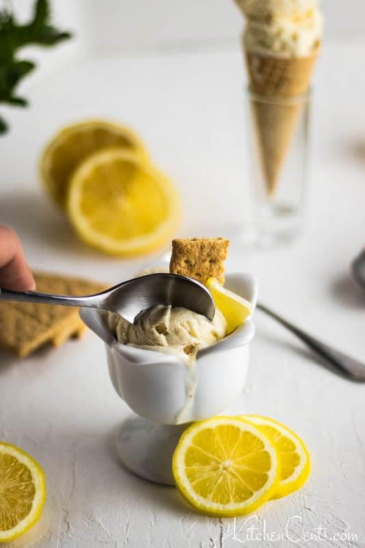 Easy Creamy Lemon Ice Cream Recipe scoopable | Kitchen Cents