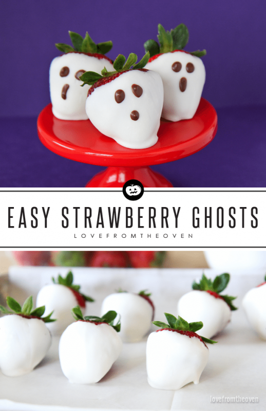 Strawberry Ghosts | 21+ Easy No Bake Halloween Treats | Kitchen Cents