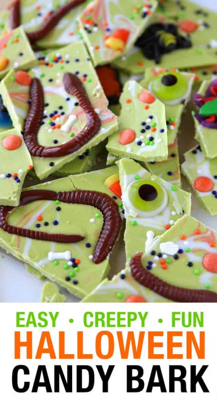 Worms and Bugs Halloween Bark | 21+ Easy No Bake Halloween Treats | Kitchen Cents