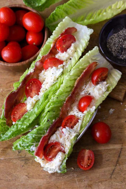 BLT Egg Salad Lettuce Wraps | 21+ Low-Carb Snacks