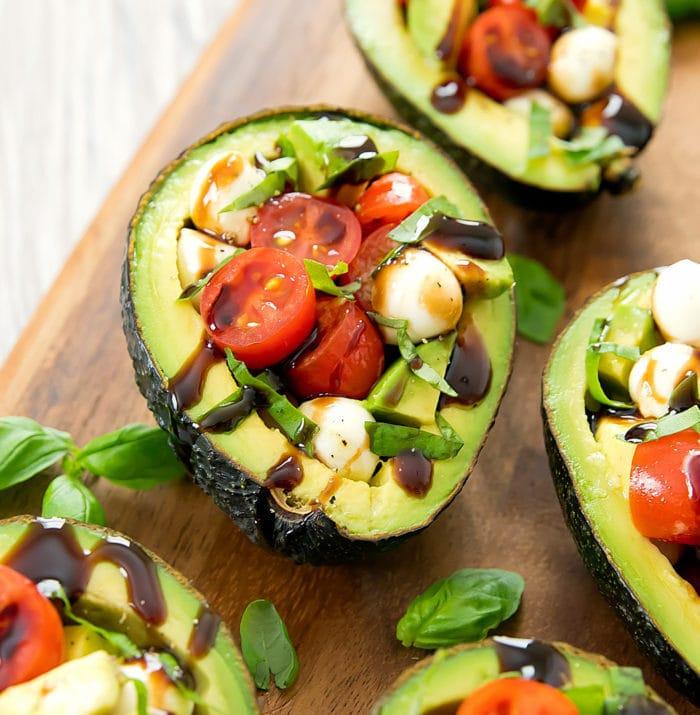 Caprese Stuffed Avocado | 21+ Low-Carb Snacks