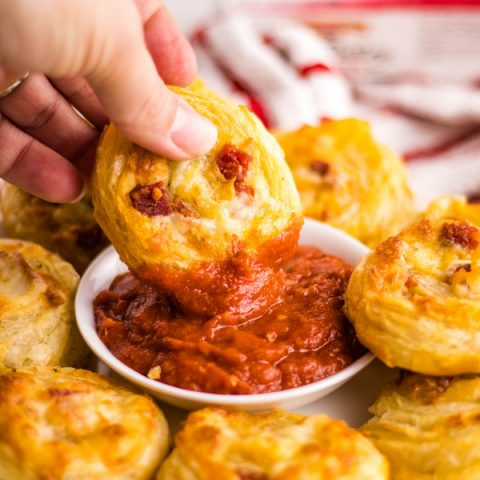 Dip Easy Pizza Pinwheels in marinara or pizza sauce | Kitchen Cents