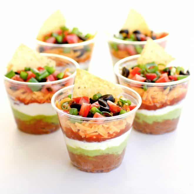 Individual Seven-Layer Dip | 29+ Delicious Superbowl Party Foods