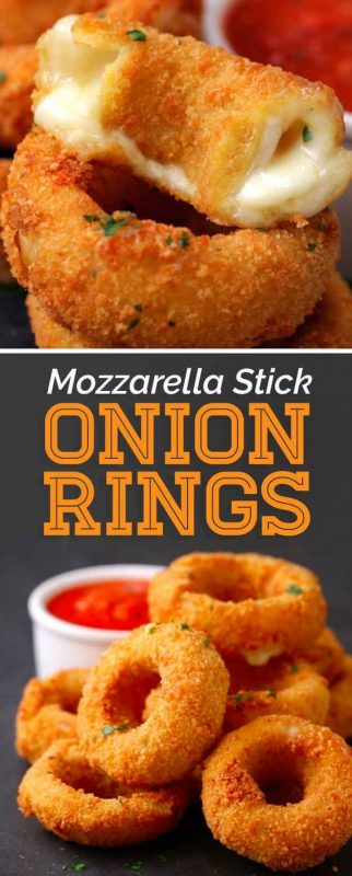 Mozzarella Stick Onion rings | 29+ Delicious Superbowl Party Foods