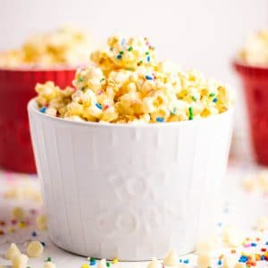 Easy Sweet Rainbow Sprinkles Popcorn perfect for movie night | Kitchen Cents