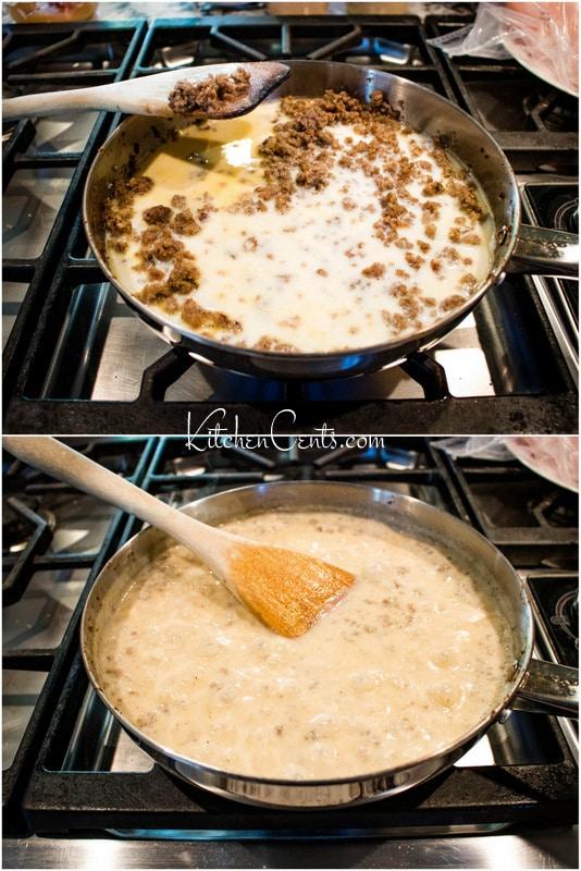 How to make sausage gravy add milk heat until thickened | Kitchen Cents