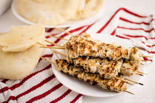 Easy Grilled Greek Chicken Kabobs | Kitchen Cents