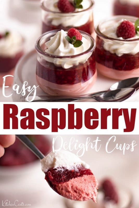 Easy Raspberry Delight Cups made with Jello | Kitchen Cents