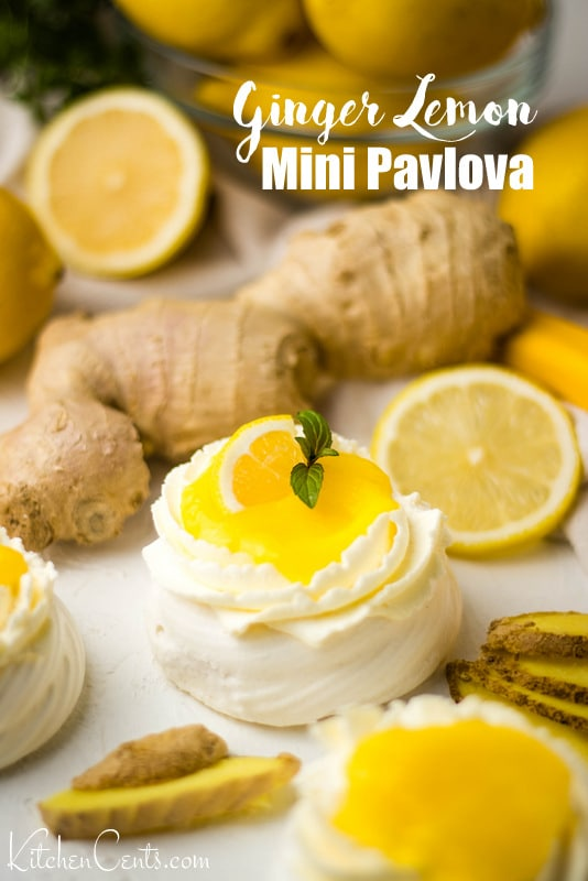 Easy Ginger Lemon Curd Mini Pavlova Dessert | Kitchen Cents