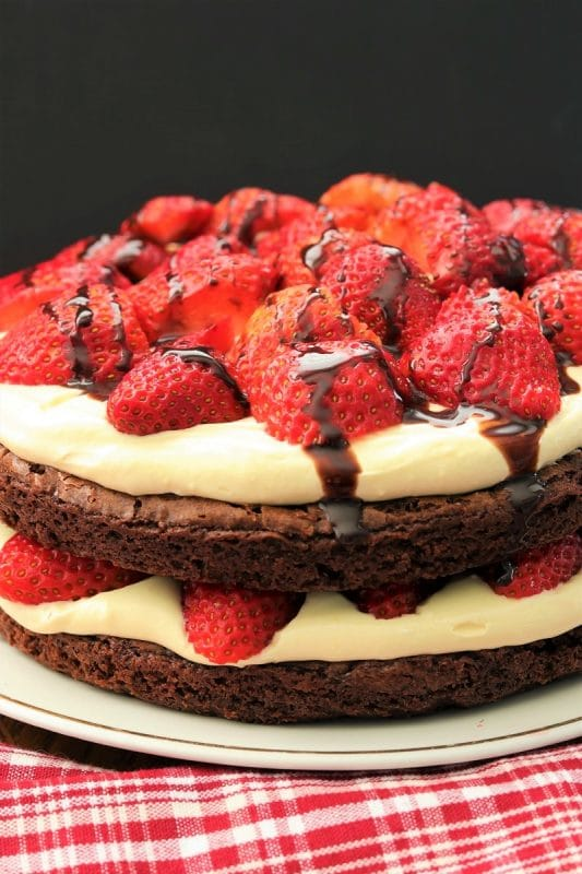 Strawberry Brownie Torte| 35+ Chocolate Valentines Desserts