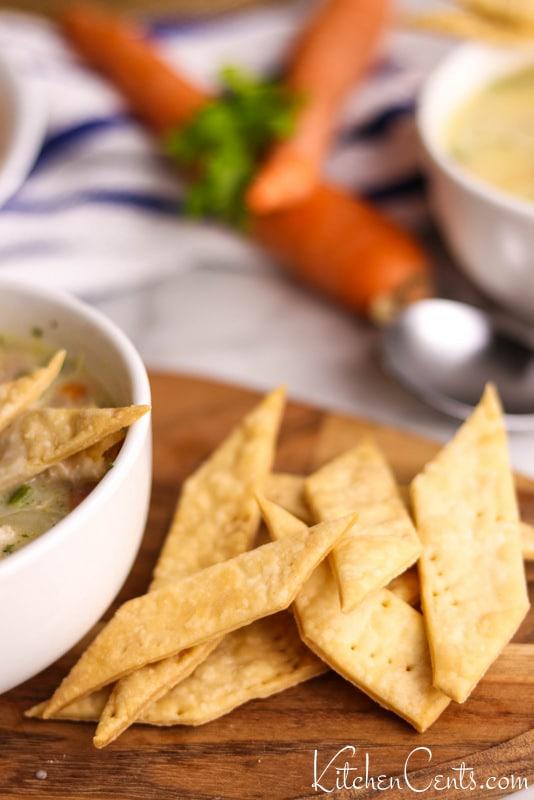 Chicken Pot Pie Soup with pie crust crackers | Kitchen Cents