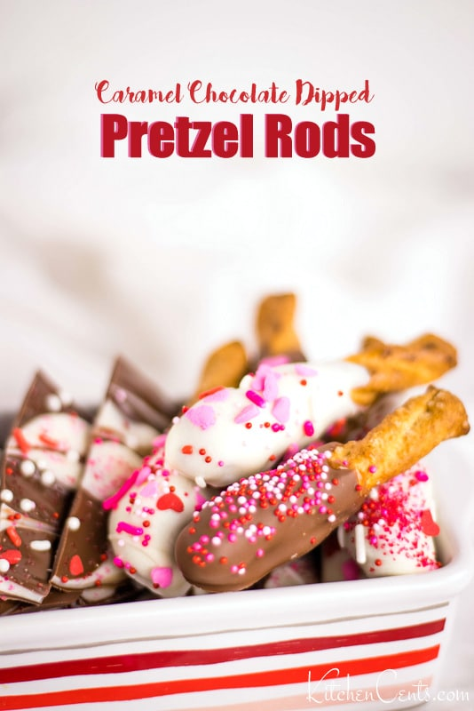 Feature photo of caramel chocolate dipped pretzel rods | Kitchen Cents