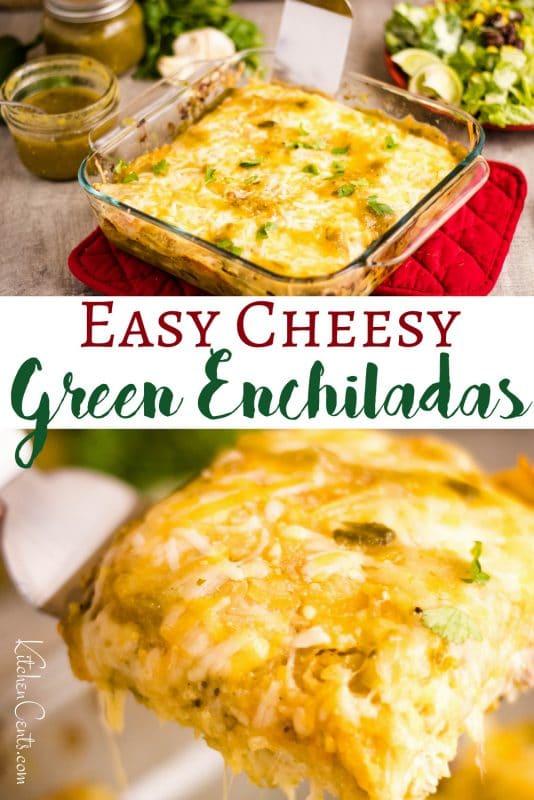 Easy Cheesy Green Enchiladas with homemade green enchilada sauce | Kitchen Cents
